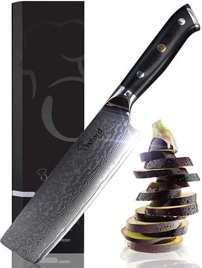 Nakiri Damascus Chef's Professional Knife - Best Damascus Chef Knife under 100