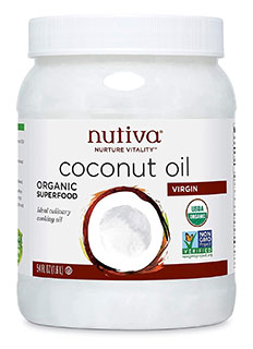 Nutiva Organic Unrefined Virgin Coconut Oil - best oil to season cast iron skillet