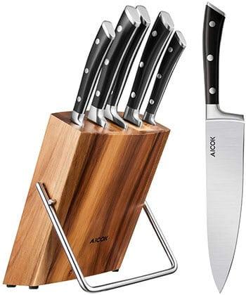 Aicok 6 piece Kitchen Knife Set - best chef knife set under 200