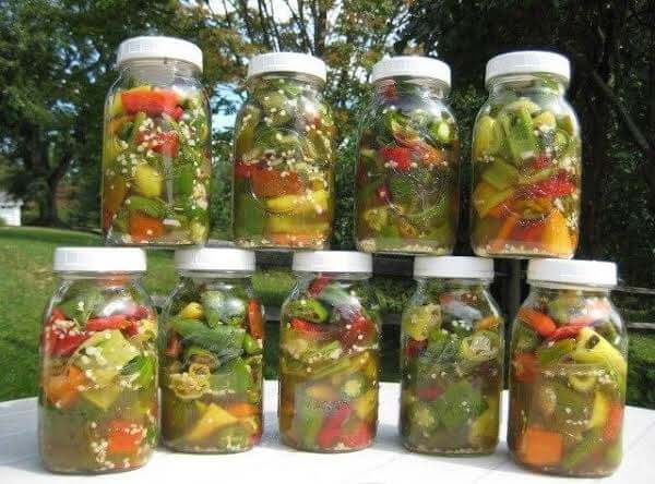 chili in glass containers