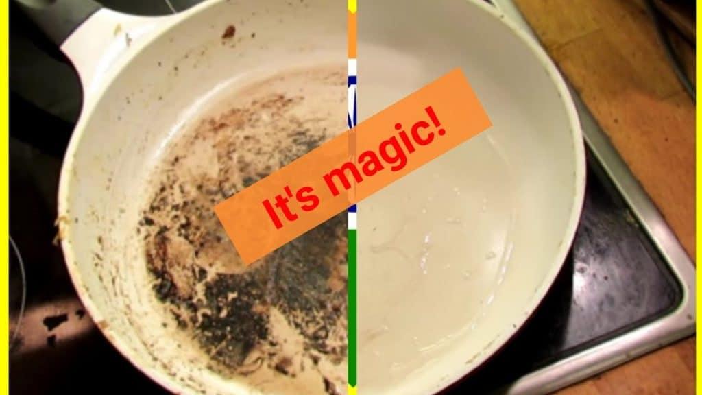 clean burnt ceramic non-stick pan