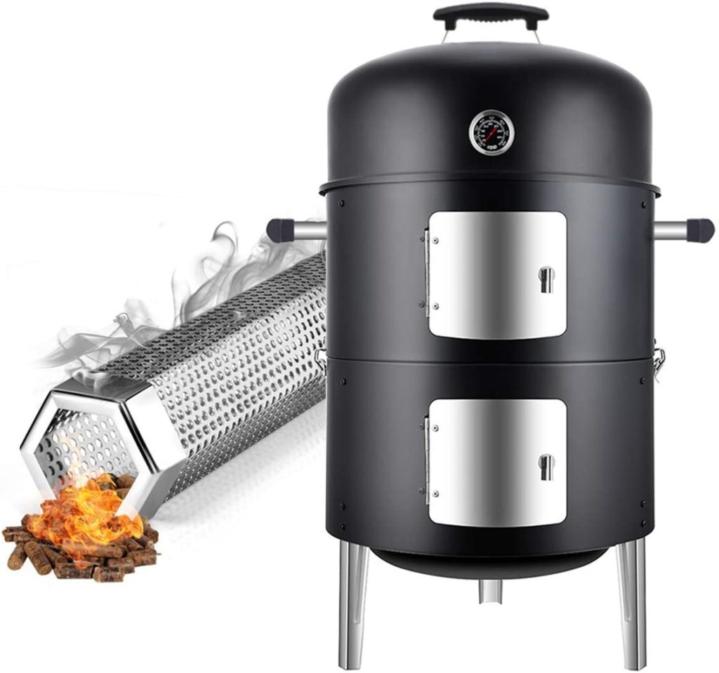 Real cook 17 inches Charcoal smoker Grill with pellet smoker tube