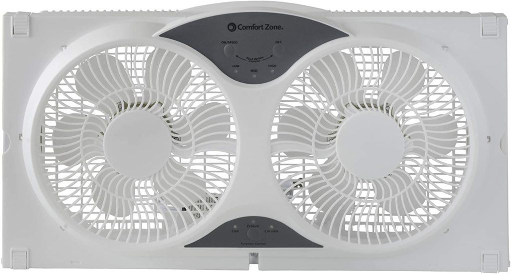 3-speed 3-function Comfort Zone CZ310R. Removable Cover Remote Control, Expandable Twin Window Fan